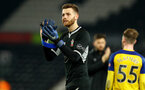 DERBY, ENGLAND - JANUARY 05: Angus Gunn of Southampton  during the FA Cup Third Round match between Derby County and Southampton FC at Pride Park on January 05, 2019 in Derby, United Kingdom. (Photo by Matt Watson/Southampton FC via Getty Images)
