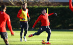 SOUTHAMPTON, ENGLAND - JANUARY 09:  Pierre-Emile Højbjerg (middle) during a Southampton FC training session at Staplewood Training Ground on January 09, 2019 in Southampton, United Kingdom. (Photo by James Bridle - Southampton FC/Southampton FC via Getty Images)