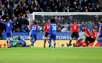 LEICESTER, ENGLAND - JANUARY 12: Jan Bednarek clears off the line during the Premier League match between Leicester City and Southampton FC at The King Power Stadium on January 12, 2019 in Leicester, United Kingdom. (Photo by Matt Watson/Southampton FC via Getty Images)