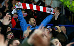 LEICESTER, ENGLAND - JANUARY 12: Southampton fans celebrate during the Premier League match between Leicester City and Southampton FC at The King Power Stadium on January 12, 2019 in Leicester, United Kingdom. (Photo by Matt Watson/Southampton FC via Getty Images)