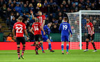 LEICESTER, ENGLAND - JANUARY 12: Jan Bednarek of Southampton wins the ball in the air during the Premier League match between Leicester City and Southampton FC at The King Power Stadium on January 12, 2019 in Leicester, United Kingdom. (Photo by Matt Watson/Southampton FC via Getty Images)