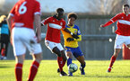 MIDDLESBROUGH, ENGLAND - JANUARY 13:  Oludare Olufunwa (middle) during the Premier League 2 match between Middlesbrough FC and Southampton FC at Heritage Park on January 13, 2019 in Middlesbrough, United Kingdom. (Photo by James Bridle - Southampton FC/Southampton FC via Getty Images)