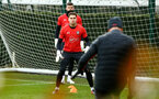 SOUTHAMPTON, ENGLAND - JANUARY 15: Harry Lewis (left) during a Southampton FC  training session at Staplewood Complex on January 15, 2019 in Southampton, England. (Photo by James Bridle - Southampton FC/Southampton FC via Getty Images)