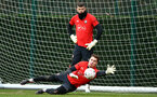 SOUTHAMPTON, ENGLAND - JANUARY 15: Harry lewis makes a save (Middle) during a Southampton FC  training session at Staplewood Complex on January 15, 2019 in Southampton, England. (Photo by James Bridle - Southampton FC/Southampton FC via Getty Images)