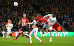 SOUTHAMPTON, ENGLAND - JANUARY 16: Jack Stephens of Southampton FC (middle) heads the ball towards goal while being challenged by Derby County's Scott Malone and Fikayo Tomori during the FA Cup Third Round Replay match between Southampton FC and Derby County at St Mary's Stadium on January 16, 2019 in Southampton, United Kingdom. (Photo by James Bridle - Southampton FC/Southampton FC via Getty Images)
