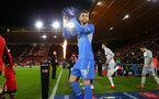 SOUTHAMPTON, ENGLAND - JANUARY 16: Angus Gunn during the FA Cup Third Round Replay match between Southampton FC and Derby County at St Mary's Stadium on January 16, 2019 in Southampton, United Kingdom. (Photo by James Bridle - Southampton FC/Southampton FC via Getty Images)