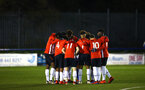 LONDON, ENGLAND - JANUARY 17:  Team huddle ahead of kick off for the FA Youth Cup match between Watford FC and Southampton FC on January 17, 2019 in Watford, United Kingdom. (Photo by James Bridle - Southampton FC/Southampton FC via Getty Images)