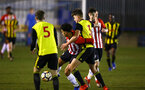 LONDON, ENGLAND - JANUARY 17:  Christian Norton (middle) during a  FA Youth Cup match between Watford FC and Southampton FC on January 17, 2019 in Watford, United Kingdom. (Photo by James Bridle - Southampton FC/Southampton FC via Getty Images)