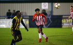 LONDON, ENGLAND - JANUARY 17:  Caleb Watts (middle) during a  FA Youth Cup match between Watford FC and Southampton FC on January 17, 2019 in Watford, United Kingdom. (Photo by James Bridle - Southampton FC/Southampton FC via Getty Images)