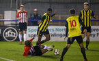 LONDON, ENGLAND - JANUARY 17:  Enzo Robise  is taken down (left) during a  FA Youth Cup match between Watford FC and Southampton FC on January 17, 2019 in Watford, United Kingdom. (Photo by James Bridle - Southampton FC/Southampton FC via Getty Images)