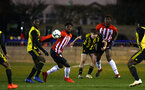 LONDON, ENGLAND - JANUARY 17: Alex Jankewitz (left) Allan Chaptchet (right) during a  FA Youth Cup match between Watford FC and Southampton FC on January 17, 2019 in Watford, United Kingdom. (Photo by James Bridle - Southampton FC/Southampton FC via Getty Images)