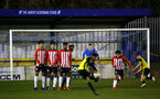 LONDON, ENGLAND - JANUARY 17:  Jack Bycroft (middle) as a free kick is taken during a  FA Youth Cup match between Watford FC and Southampton FC on January 17, 2019 in Watford, United Kingdom. (Photo by James Bridle - Southampton FC/Southampton FC via Getty Images)