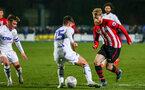 LEEDS, ENGLAND - JANUARY 21:  Josh Sims (right)  Nutmegs his opponent during the PL CUP match between Leeds United vs Southampton FC on January 21, 2019 in Watford, United Kingdom. (Photo by James Bridle - Southampton FC/Southampton FC via Getty Images)
