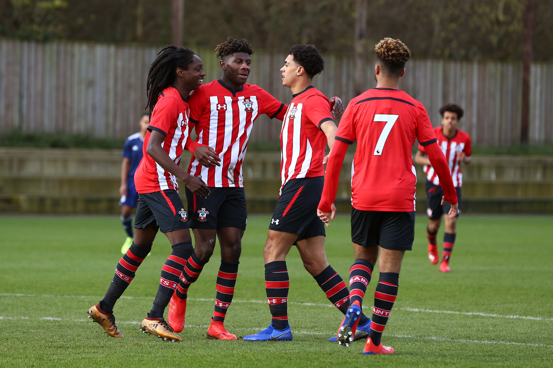 SOUTHAMPTON, ENGLAND - JANUARY 26: LtoR Taymar Fleary, Alex Jankewitz, Christian Norton, celebrates after Chris scores from a header during the Under 18s match between Southampton FC and Fulham FC pictured at Staplewood Complex on January 26, 2019 in Southampton, England. (Photo by James Bridle - Southampton FC/Southampton FC via Getty Images)