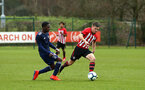 SOUTHAMPTON, ENGLAND - JANUARY 26: Sean Keogh (right) during the Under 18s match between Southampton FC and Fulham FC pictured at Staplewood Complex on January 26, 2019 in Southampton, England. (Photo by James Bridle - Southampton FC/Southampton FC via Getty Images)