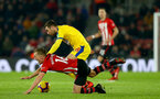 SOUTHAMPTON, ENGLAND - JANUARY 30: James Ward-Prowse of Southampton is brought down by James McArthur of Crystal Palace during the Premier League match between Southampton FC and Crystal Palace at St Mary's Stadium on January 30, 2019 in Southampton, United Kingdom. (Photo by Matt Watson/Southampton FC via Getty Images)