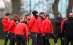 SOUTHAMPTON, ENGLAND - FEBRUARY 01: Players listen to instruction during a Southampton FC training session at the Staplewood Campus on February 01, 2019 in Southampton, England. (Photo by Matt Watson/Southampton FC via Getty Images)