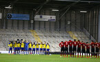 LEIGH, GREATER MANCHESTER - FEBRUARY 01:  1 minute silence ahead of kick off for the PL2 match between Manchester United and Southampton FC pictured at Leigh Sports Village on February 01, 2019 in Leigh, Greater Manchester. (Photo by James Bridle - Southampton FC/Southampton FC via Getty Images)