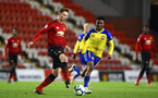 LEIGH, GREATER MANCHESTER - FEBRUARY 01:  Nathan Tella (right) during the PL2 match between Manchester United and Southampton FC pictured at Leigh Sports Village on February 01, 2019 in Leigh, Greater Manchester. (Photo by James Bridle - Southampton FC/Southampton FC via Getty Images)