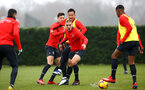 SOUTHAMPTON, ENGLAND - FEBRUARY 05: Oriol Romeu (middle) with Maya Yoshida during a Southampton FC  training session at Staplewood Complex on February 05, 2019 in Southampton, England. (Photo by James Bridle - Southampton FC/Southampton FC via Getty Images)