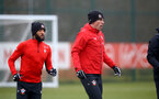 SOUTHAMPTON, ENGLAND - FEBRUARY 05: LtoR Nathan Redmond, Pierre-Emile H¿jbjerg during a Southampton FC  training session at Staplewood Complex on February 05, 2019 in Southampton, England. (Photo by James Bridle - Southampton FC/Southampton FC via Getty Images) SOUTHAMPTON, ENGLAND - FEBRUARY 05: LtoR Nathan Redmond, Pierre-Emile Højbjerg during a Southampton FC  training session at Staplewood Complex on February 05, 2019 in Southampton, England. (Photo by James Bridle - Southampton FC/Southampton FC via Getty Images)