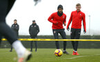 SOUTHAMPTON, ENGLAND - FEBRUARY 05: Ryan Bertrand (left) Matt Target (right) during a Southampton FC  training session at Staplewood Complex on February 05, 2019 in Southampton, England. (Photo by James Bridle - Southampton FC/Southampton FC via Getty Images)