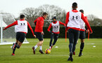 SOUTHAMPTON, ENGLAND - FEBRUARY 06: James Ward-Prowse (middle) during a Southampton FC training session at Staplewood Complex on February 06, 2019 in Southampton, England. (Photo by James Bridle - Southampton FC/Southampton FC via Getty Images)