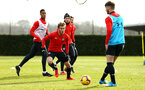 SOUTHAMPTON, ENGLAND - FEBRUARY 06: Jake Vokins (middle) during a Southampton FC training session at Staplewood Complex on February 06, 2019 in Southampton, England. (Photo by James Bridle - Southampton FC/Southampton FC via Getty Images)