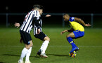 NEWCASTLE, ENGLAND - FEBRUARY 08: Tyreke Johnson (right) during a PLCUP match between Southampton FC and Newcastle United pictured at Northumberland County FA on February 08, 2019 in Newcastle, England. (Photo by James Bridle - Southampton FC/Southampton FC via Getty Images)
