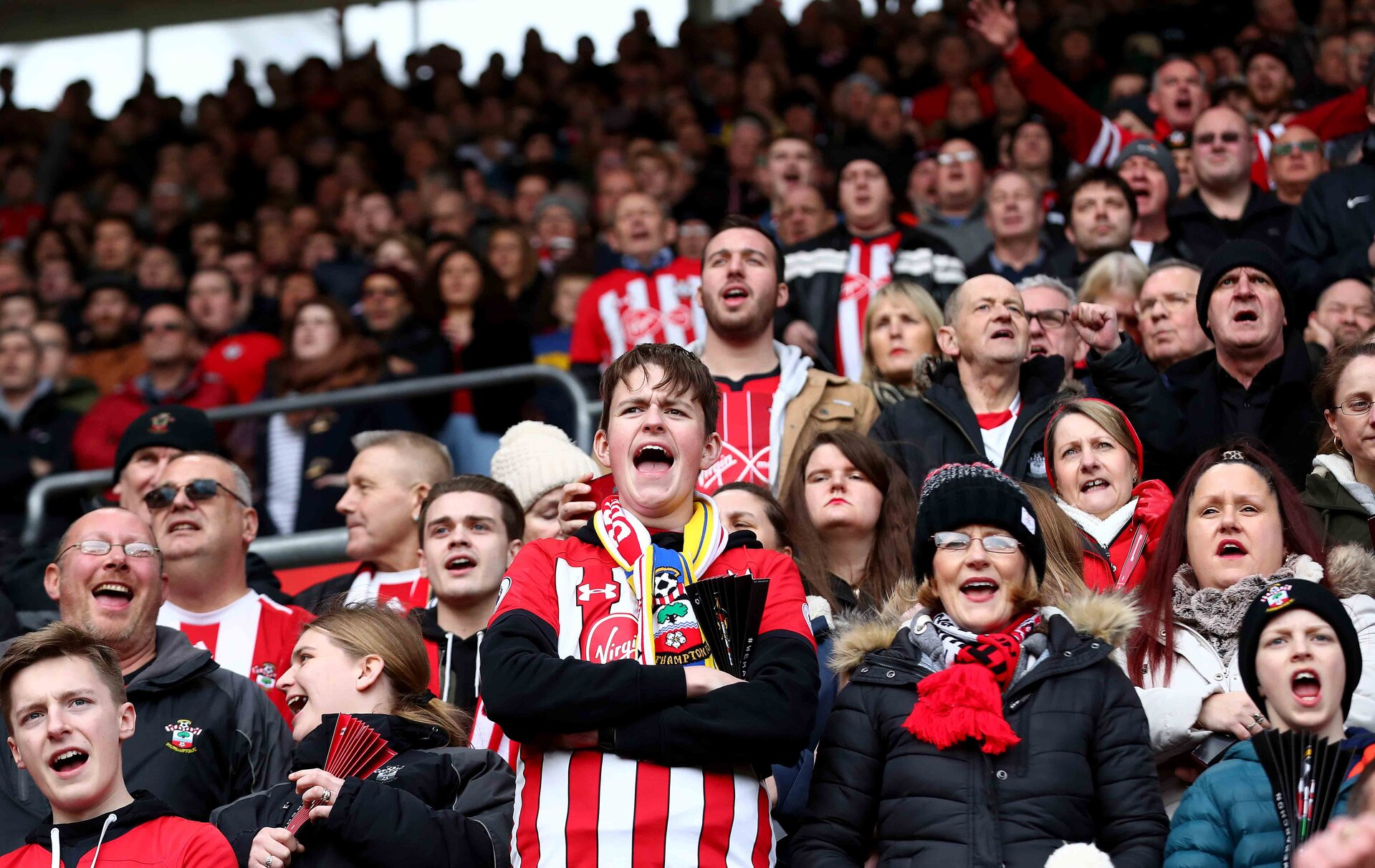 SOUTHAMPTON, ENGLAND - FEBRUARY 09: fans of Southampton during the Premier League match between Southampton FC and Cardiff City at St Mary's Stadium on February 09, 2019 in Southampton, United Kingdom. (Photo by Matt Watson/Southampton FC via Getty Images)