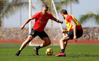 TENERIFE, SPAIN - FEBRUARY 12: Oriol Romeu(L) and Jan Bednarek on day 2 of Southampton FC's winter training Camp, on February 12, 2019 in Tenerife, Spain. (Photo by Matt Watson/Southampton FC via Getty Images)