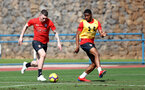 TENERIFE, SPAIN - FEBRUARY 12: Pierre-Emile Hojbjerg(L) and Kayne Ramsay on day 2 of Southampton FC's winter training Camp, on February 12, 2019 in Tenerife, Spain. (Photo by Matt Watson/Southampton FC via Getty Images)