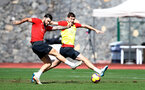 TENERIFE, SPAIN - FEBRUARY 12: Charlie Austin(L) and Jack Stephens on day 2 of Southampton FC's winter training Camp, on February 12, 2019 in Tenerife, Spain. (Photo by Matt Watson/Southampton FC via Getty Images)