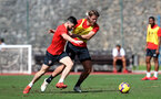 TENERIFE, SPAIN - FEBRUARY 12: Shane Long(L) and Jannik Vestergaard on day 2 of Southampton FC's winter training Camp, on February 12, 2019 in Tenerife, Spain. (Photo by Matt Watson/Southampton FC via Getty Images)