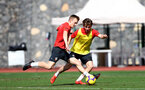 TENERIFE, SPAIN - FEBRUARY 12: James Ward-Prowse(L) and Jake Vokins on day 2 of Southampton FC's winter training Camp, on February 12, 2019 in Tenerife, Spain. (Photo by Matt Watson/Southampton FC via Getty Images)
