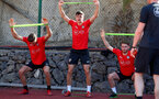 TENERIFE, SPAIN - FEBRUARY 14: L to R Jan Bednarek, Alfie Jones and Callum Slattery on day 4 of Southampton FC's winter training camp on February 14, 2019 in Tenerife, Spain. (Photo by Matt Watson/Southampton FC via Getty Images)