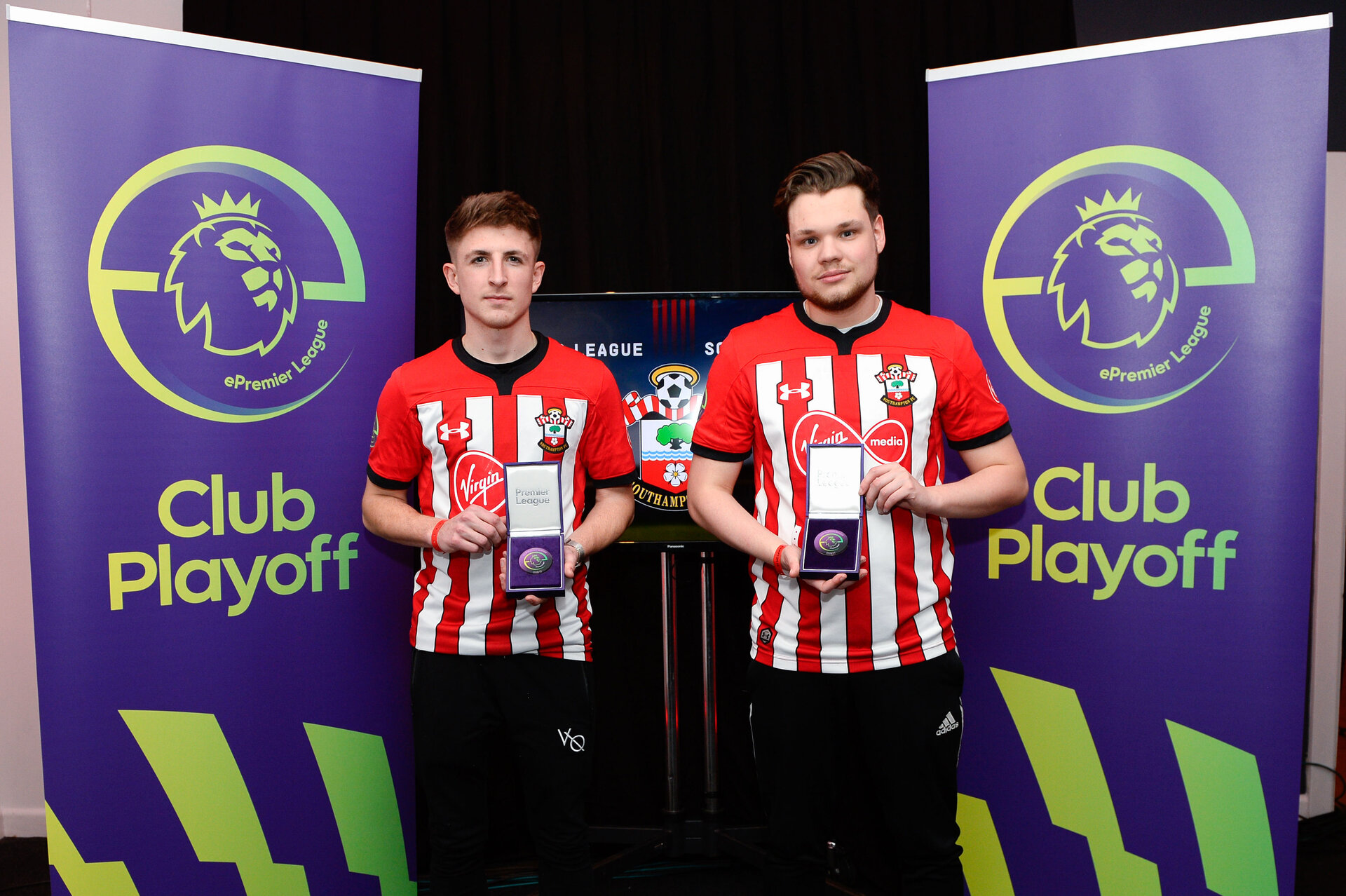 SOUTHAMPTON, ENGLAND - FEBRUARY 14: LtoR Gamer Tag 'LP Rusher X ' winner of the Xbox tournament with 'Venn' winner of the PS4 Tournament for Southampton FC pictured for the ePremier League tournament held at St Mary's Stadium on February 14, 2019 in Southampton, England. (Photo by James Bridle - Southampton FC/Southampton FC via Getty Images)