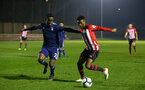 SOUTHAMPTON, ENGLAND - FEBRUARY 15: Nathan Tella (right) during the U23s PL2 match between Southampton FC and Fulham FC pictured at Staplewood Complex on February 15, 2019 in Southampton, England. (Photo by James Bridle - Southampton FC/Southampton FC via Getty Images)