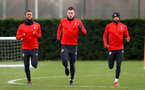 L to R, Ryan Bertrand, Pierre-Emile Hojbjerg and Nathan Redmond during a Southampton FC training session at the Staplewood Campus, Southampton, 19th February 2019