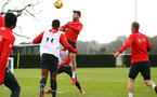 SOUTHAMPTON, ENGLAND - FEBRUARY 20: Shane Long (middle) during a Southampton FC training session pictured at Staplewood Complex on February 20, 2019 in Southampton, England. (Photo by James Bridle - Southampton FC/Southampton FC via Getty Images)
