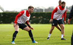 SOUTHAMPTON, ENGLAND - FEBRUARY 20: Callum Slattery (left) during a Southampton FC training session pictured at Staplewood Complex on February 20, 2019 in Southampton, England. (Photo by James Bridle - Southampton FC/Southampton FC via Getty Images)