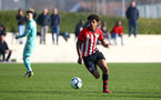 SOUTHAMPTON, ENGLAND - FEBRUARY 23:  Caleb Watts during the U18's premier league match between Southampton FC and Arsenal FC pictured in Southampton, England. (Photo by James Bridle - Southampton FC/Southampton FC via Getty Images)