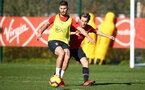 SOUTHAMPTON, ENGLAND - FEBRUARY 25:  LtoR Shane Long, Jake Vokins during a Southampton FC training session pictured at Staplewood Training Ground in Southampton, England.  (Photo by James Bridle - Southampton FC/Southampton FC via Getty Images)