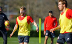 SOUTHAMPTON, ENGLAND - FEBRUARY 25:  Josh Sims (left) during a Southampton FC training session pictured at Staplewood Training Ground in Southampton, England.  (Photo by James Bridle - Southampton FC/Southampton FC via Getty Images)