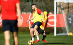 SOUTHAMPTON, ENGLAND - FEBRUARY 25:  Shane Long (right) during a Southampton FC training session pictured at Staplewood Training Ground in Southampton, England.  (Photo by James Bridle - Southampton FC/Southampton FC via Getty Images)