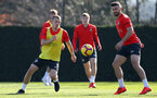 SOUTHAMPTON, ENGLAND - FEBRUARY 26: James Ward-Prowse(L) and Shane Long(R) during a Southampton FC training session at the Staplewood Campus on February 26, 2019 in Southampton, England. (Photo by Matt Watson/Southampton FC via Getty Images)