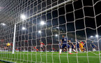 SOUTHAMPTON, ENGLAND - FEBRUARY 27: Behind the goal camera as Oriol Romeu of Southampton scores during the Premier League match between Southampton FC and Fulham FC at St Mary's Stadium on February 27, 2019 in Southampton, United Kingdom. (Photo by Matt Watson/Southampton FC via Getty Images)