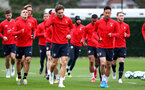 SOUTHAMPTON, ENGLAND - MARCH 01: Sam Gallagher(L) and Maya Yoshida lead the team on a warm up during a Southampton FC training session at the Staplewood Campus on March 01, 2019 in Southampton, England. (Photo by Matt Watson/Southampton FC via Getty Images)