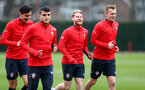 SOUTHAMPTON, ENGLAND - MARCH 01: L to R Alfie Jones, Mohamed Elyounoussi, Josh Sims and James Ward-Prowse during a Southampton FC training session at the Staplewood Campus on March 01, 2019 in Southampton, England. (Photo by Matt Watson/Southampton FC via Getty Images)