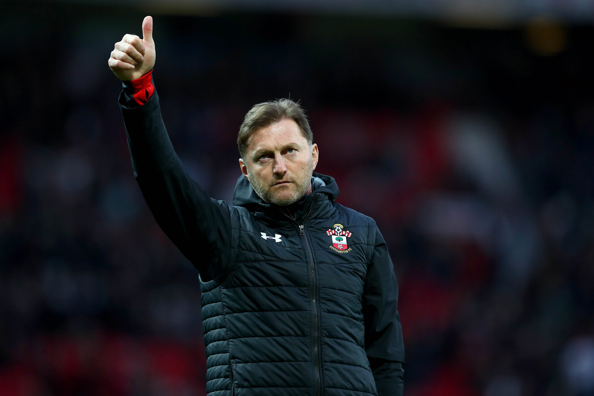 MANCHESTER, ENGLAND - MARCH 02: Ralph Hasenhuttl of during the Premier League match between Manchester United and Southampton FC at Old Trafford on March 02, 2019 in Manchester, United Kingdom. (Photo by Matt Watson/Southampton FC via Getty Images)